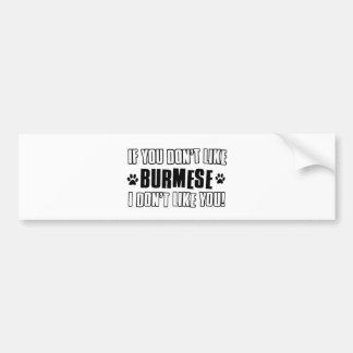 Burmese cat design bumper sticker