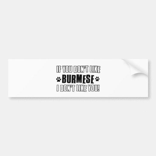 Burmese cat design bumper stickers