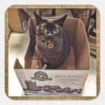 Burmese Cat in Juice Box Square Stickers