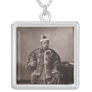 Burmese magistrate, late 19th century square pendant necklace