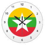 Burmese (Myanma) flag Wall Clocks