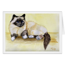 Burmese Seal Point Cat Card