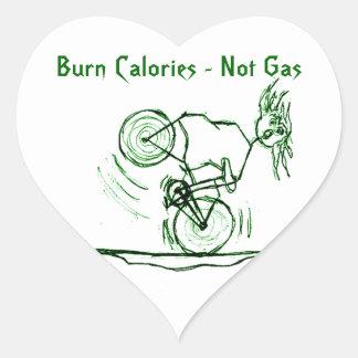 Burn Calories - Not Gas Heart Stickers