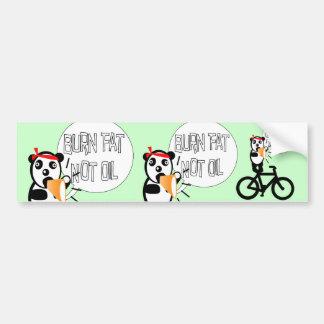 Burn Fat Not Oil Bumper Sticker Silly Bear on Bike
