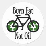 Burn Fat Not Oil Classic Round Sticker