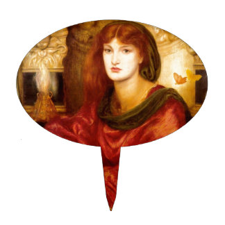 Burn Red Woman antique painting Cake Picks