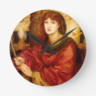 Burn Red Woman antique painting Round Clocks