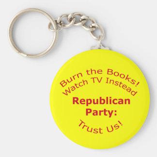 Burn the Books Basic Round Button Keychain