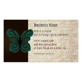 Burned Butterfly Coupon Business Card