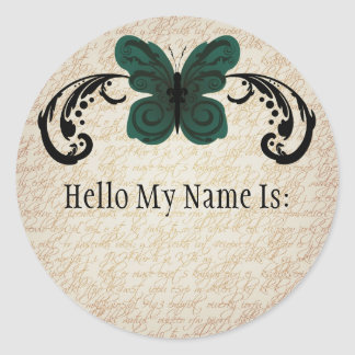 Burned Butterfly Name Tag Sticker