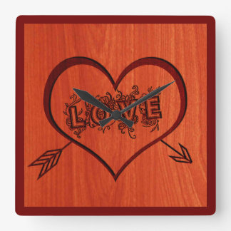 burned love and heart in wood square wall clock