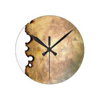 Burned Parchment II Round Clock