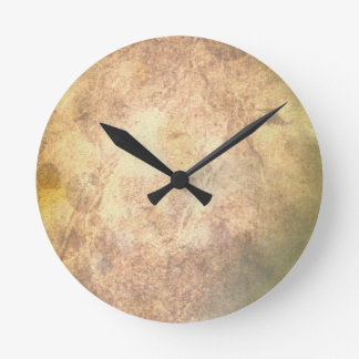Burned Parchment Round Clock