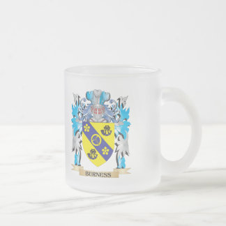 Burness Coat of Arms 10 Oz Frosted Glass Coffee Mug