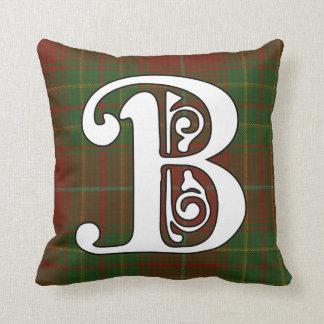 Burnett Clan Tartan Monogram Throw Pillow