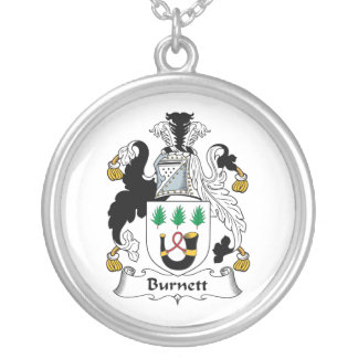 Burnett Family Crest Silver Plated Necklace