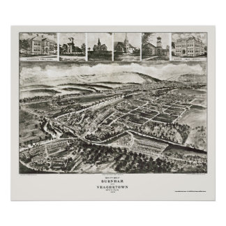 Burnham, mapa panorámico del PA - 1906 Poster