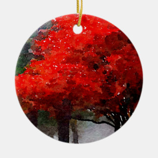 Burning Autumn Double-Sided Ceramic Round Christmas Ornament