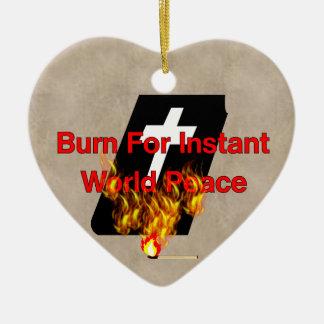 Burning Bible Ceramic Ornament