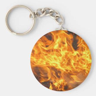 Burning Brush Basic Round Button Keychain