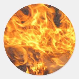 Burning Brush Classic Round Sticker
