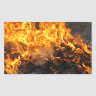 Burning Brush Rectangular Sticker