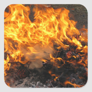 Burning Brush Square Sticker
