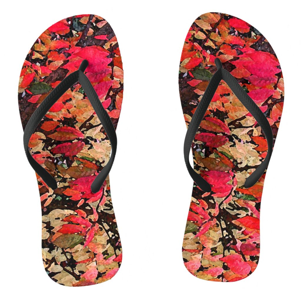 Burning Bush Abstract Flip Flops