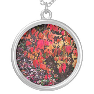 Burning Bush Abstract Round Pendant Necklace