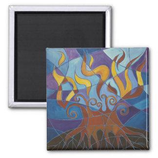 Burning Bush Mosaic II 2 Inch Square Magnet