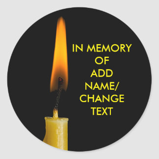 Burning Candle And Your Text Classic Round Sticker