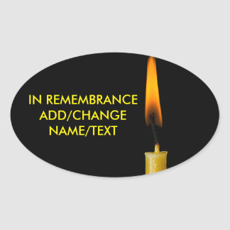 Burning Candle And Your Text Oval Sticker