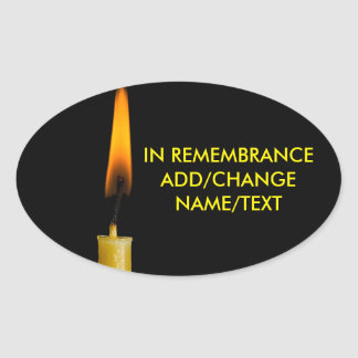 Burning Candle And Your Text Ver. 2 Oval Sticker