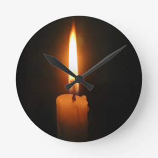 Burning Candle Round Wallclock