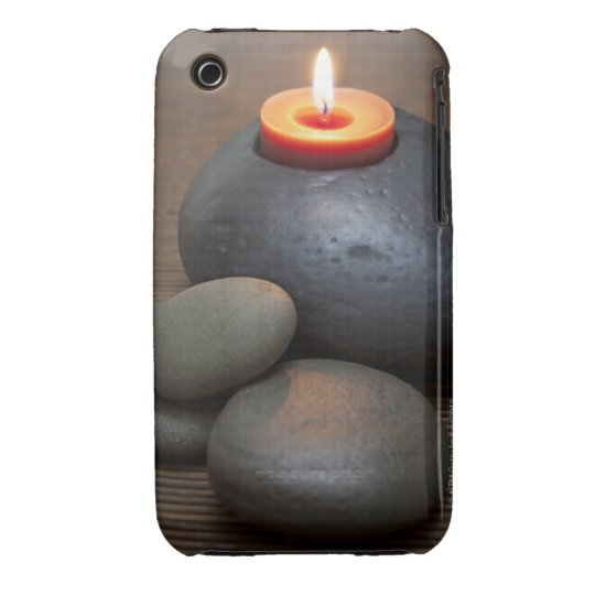 Burning candle flame with rocks in tranquil iPhone 3 Case-Mate case