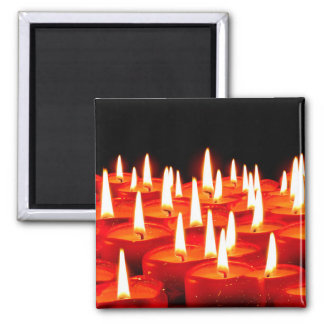 Burning candles 2 inch square magnet