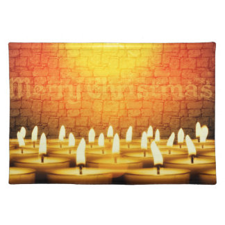 Burning candles - Merry Christmas Cloth Placemat