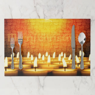 Burning candles - Merry Christmas Paper Placemat