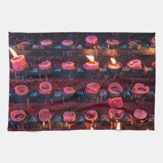 Burning Candles of Santa Nino Basilica Kitchen Towels