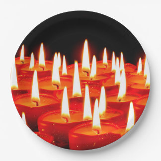 Burning candles paper plate