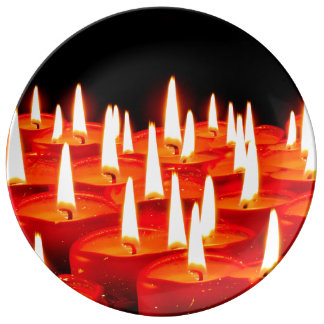 Burning candles plate
