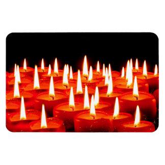 Burning candles rectangular photo magnet