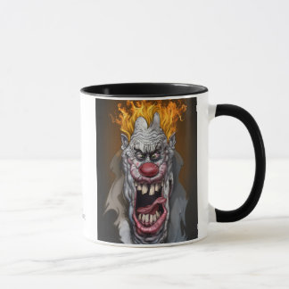 burning clown mug