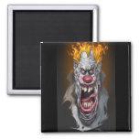 burning clown refrigerator magnet