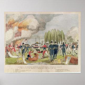 Burning de almirante Cockburn y el pillar Poster