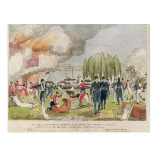 Burning de almirante Cockburn y el pillar Postales