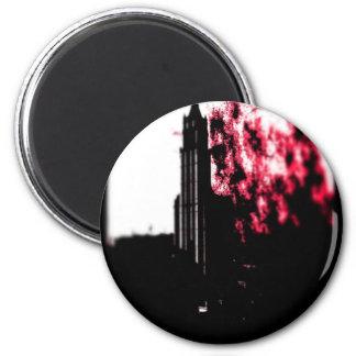 Burning de la ciudad imán redondo 5 cm