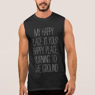 Burning feliz del lugar camiseta sin mangas