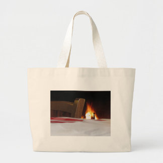 Burning fireplace and old vintage chair large tote bag