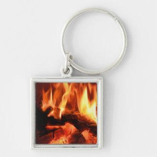 Burning Fireplace Flames I Keychain